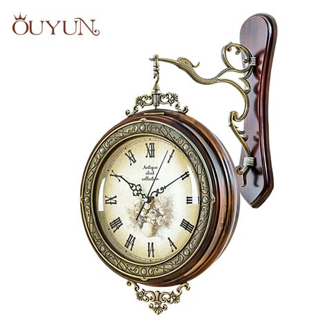 ouyun large antique wooden wall clock modern interior design personalized numeral wall