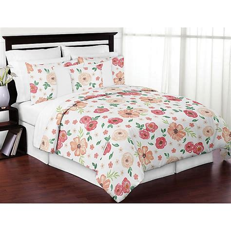 sweet jojo designs watercolor floral comforter set bed