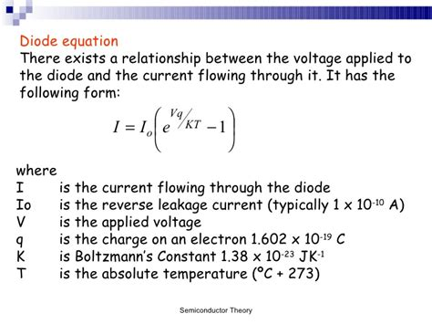 current equation for diode diode equation images