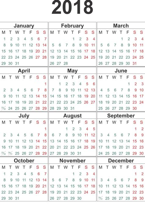 Printable Yearly Calendar 2018 2018 Printable Calendar Year Free Loving Printable