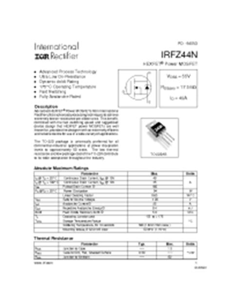 transistor irfz44n pdf irfz44n irf power mosfet vdss 55v rds on 17 5mohm id 49a power mosfets