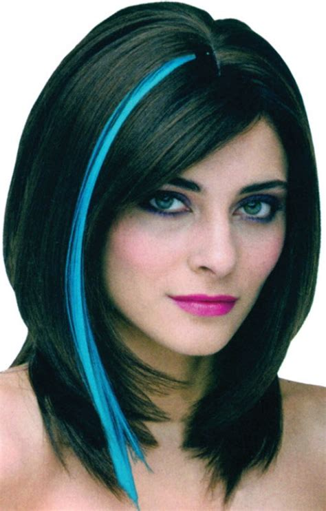 hightlight in stip of front blue highlight stick wigs