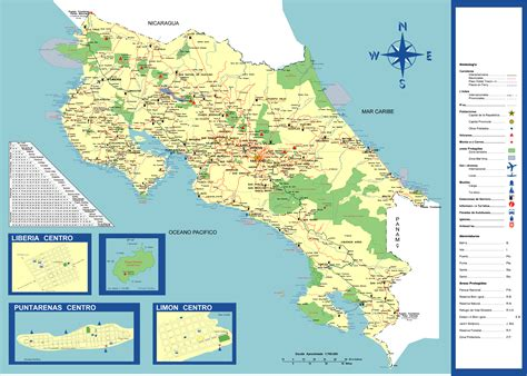 detailed map of costa rica large detailed tourist and road map of costa rica costa