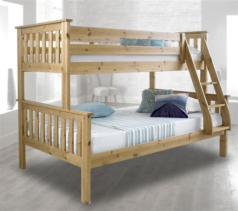 triple sleeper bunk beds happy beds atlantis solid wood triple sleeper bunk bed 3ft