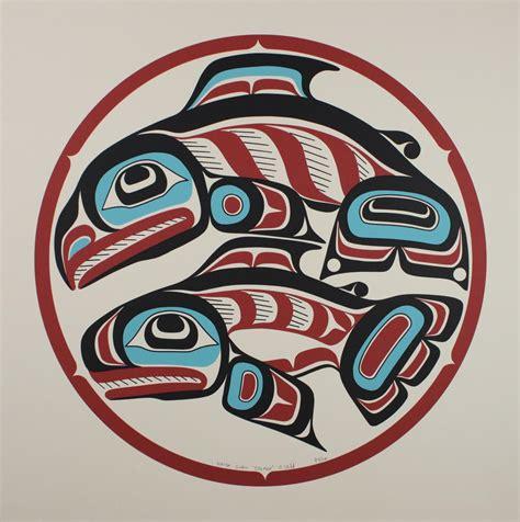 printable haida art haida gwaii salmon on beige paper cedar hill long house