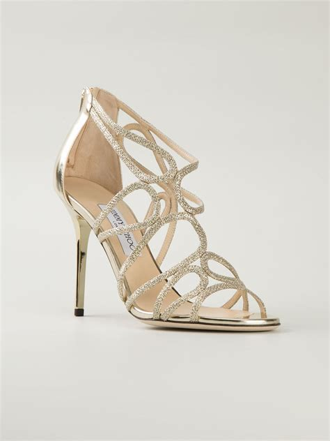 jimmy choo gold sandals jimmy choo layla sandals in gold metallic lyst