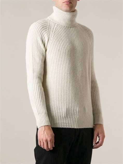 Sweater 10179760 White Knitting lyst moncler grenoble chunky knit turtle neck sweater in white for