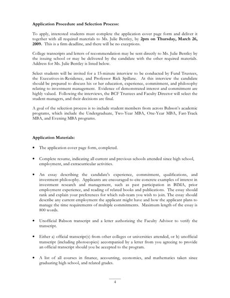 Babson Mba Recommendation Letter by Bcf Application For 2009 2010 Academic Year Word Format