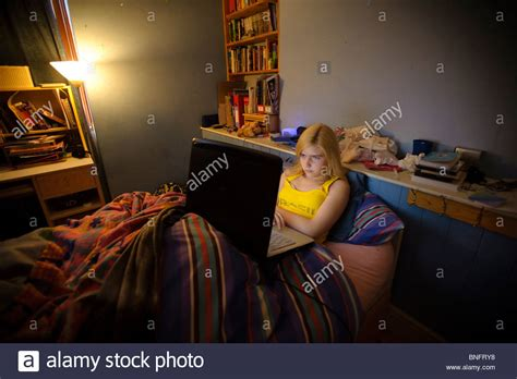 boy chat room a 15 year using laptop to chat with stock photo royalty free