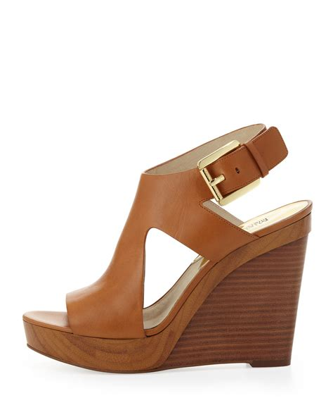 michael kors josephine leather wedge sandal michael kors michael josephine leather wedge sandal in