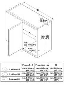 Kitchen Cabinet Specs by Blind Corner Base Corner Lemans Amp Magic Corner Pull Out