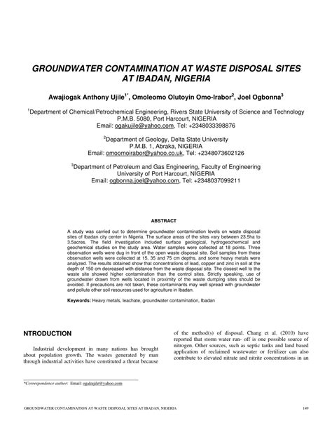 (PDF) Groundwater Contamination at Waste Disposal Sites at