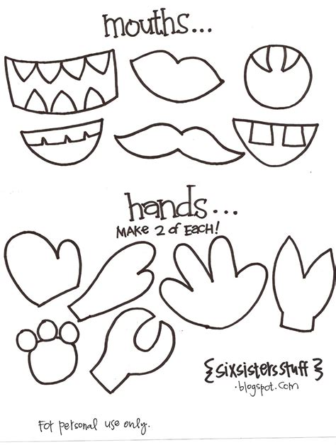 template mosnter make your own puppets printable pattern six