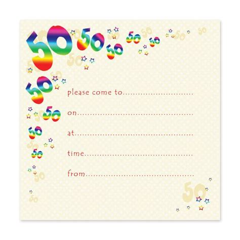 free templates for awesome 50th birthday cards blank 50th birthday invitations templates 50th