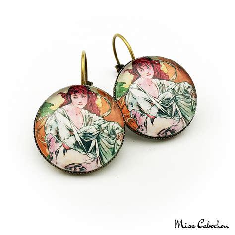 Retro Earring retro earrings quot october by alfons mucha quot dangle earrings