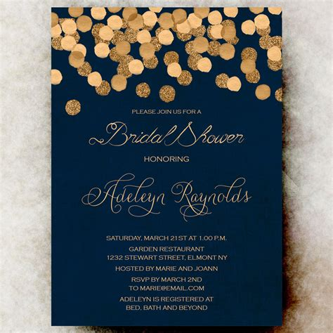 blue and silver wedding invitation ideas gold glittering confetti bridal shower invitation