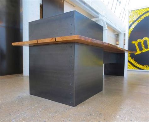 Metal Reception Desk Custom Made Metal Modern Industrial Plate Steel Reception Desk With Maple Live Edge Slab Top
