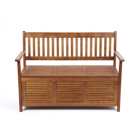 bench storage seat garden patio outdoor solid hardwood wooden bench seat