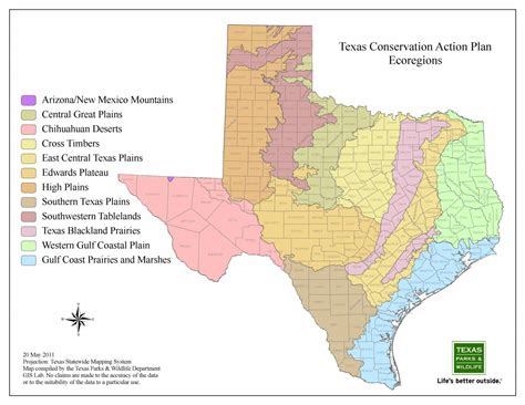 texas ecoregions map texas parks wildlife department wildlife diversity program nongame and species program