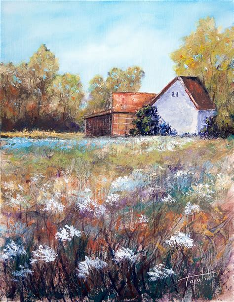 house painting art farm house oil painting fine arts gallery original