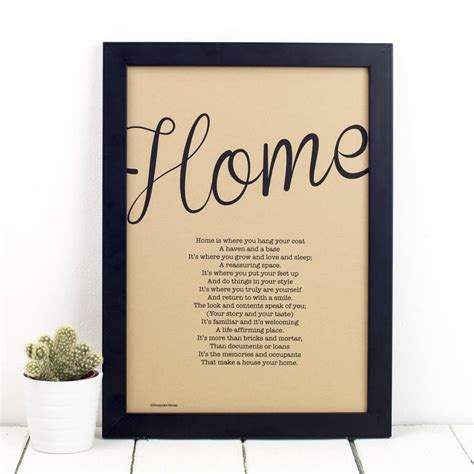 personalised home print with home poem by bespoke verse
