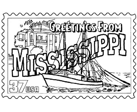 coloring page of mississippi river usa printables mississippi state st us states