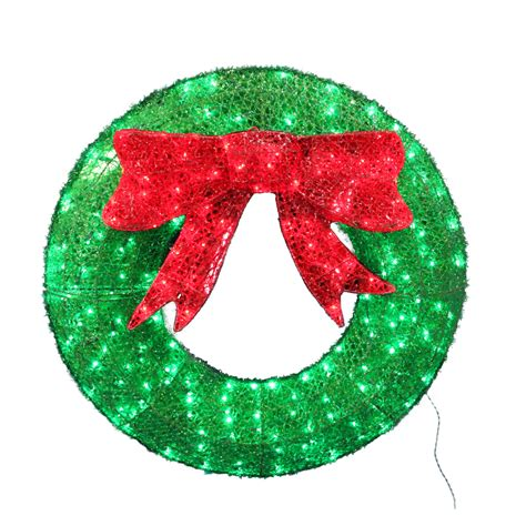shop holiday living pre lit wreath sign with constant