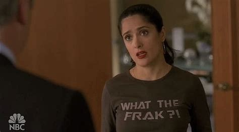 Get Salma Hayeks Maternity T Shirt by Salma Hayek Wears A Quot What The Frak Quot Shirt On 30 Rock