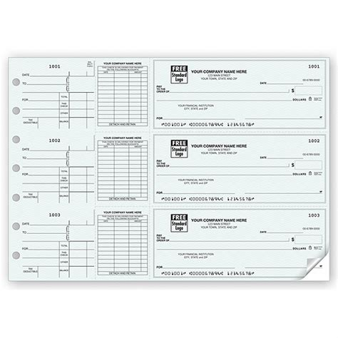 3 Per Page Business Size Checks Printed With Logo Deluxe Check Printing Template