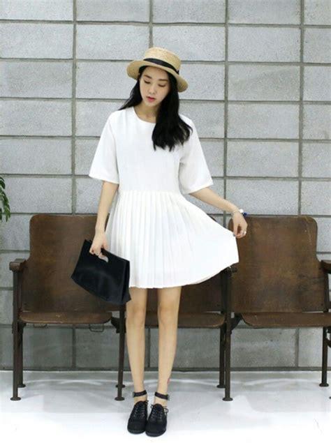 Korea White white palaid dress korean style feminine korea ootd