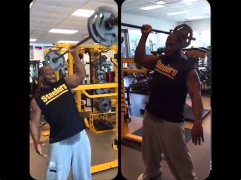 james harrison bench press james harrison does one handed 135 lb barbell shoulder