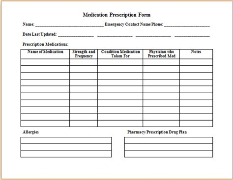 ms word medication prescription form template printable