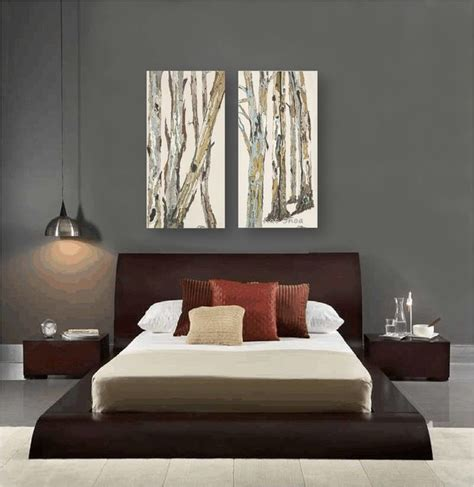 modern bedroom brown contemporary bedroom design dark gray walls artwork zen