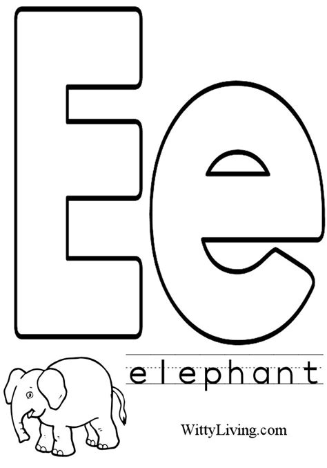 letter e coloring pages to download and print for free
