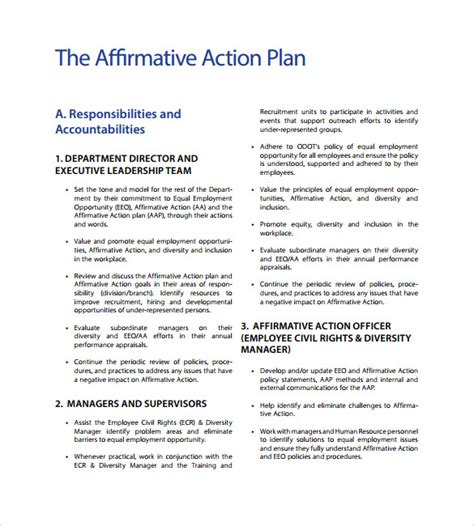 affirmative policy template 9 sammple affirmative plan templates sle