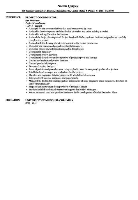 Coordinator Resume by Project Coordinator Resume Sle Velvet