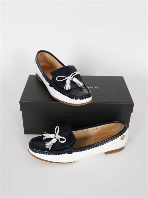 armani exchange loafers emporio armani blue and white patent loafers 39 luxury