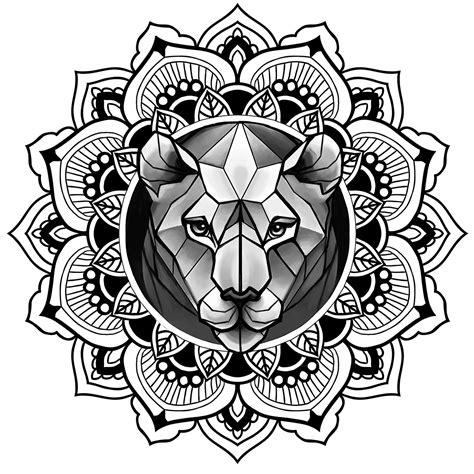 tattoo mandala lion lion in mandala tattoo sketch ornamental dotwork on