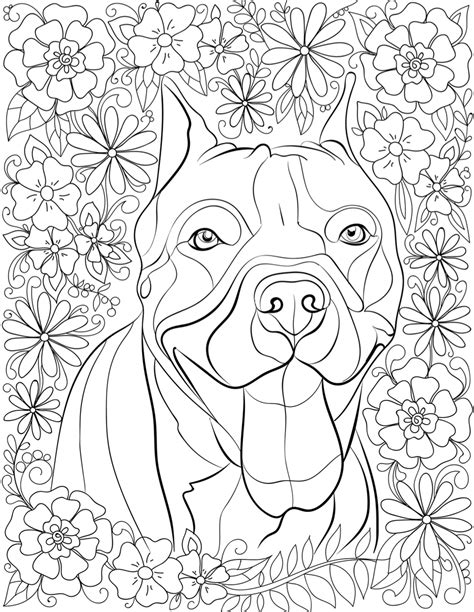 coloring pages for adults dogs de stress with pit bulls downloadable 10 page coloring