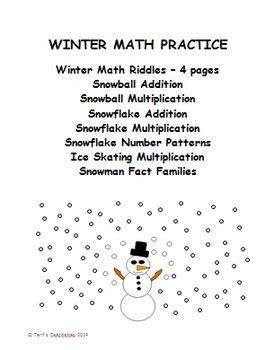 pattern math riddles winter math practice riddles fact families patterns