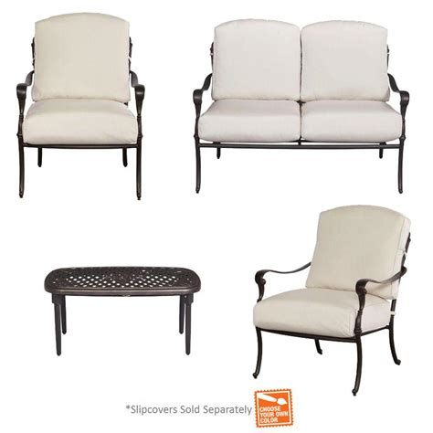 Patio Furniture Cushion Slipcovers Hton Bay Edington 4 Patio Conversation Set With Cushion Insert Slipcovers Sold