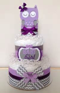items similar to chevron purple lavender and gray owl diaper cake baby shower centerpiece on etsy