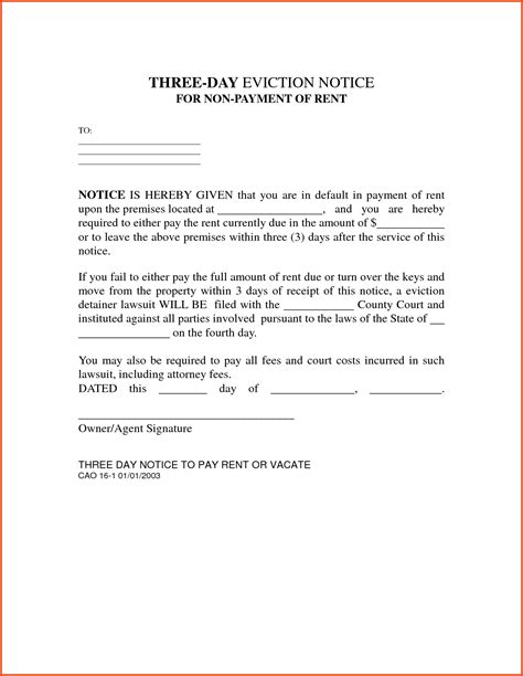 Eviction Notice Letter Exle Mughals Free 3 Day Notice Template