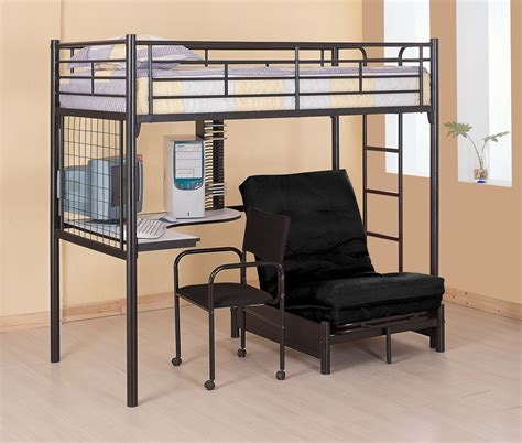 black metal multifunction loft bunk bed with desk and