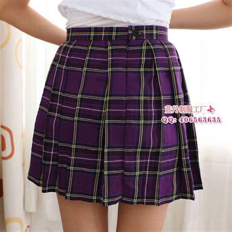 fashion student school purple plaid pleated skirt