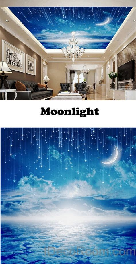moonlight clouds starry night ceiling wall mural wall