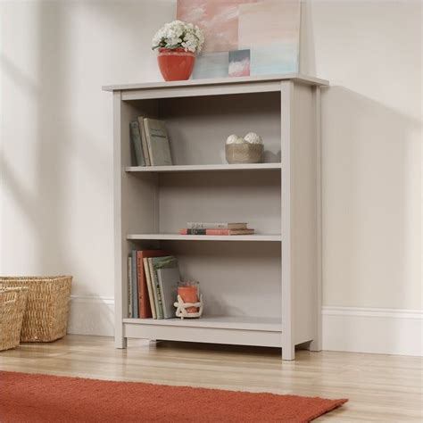 sauder original cottage 3 shelf bookcase cobblestone