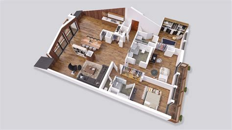 Simple House With Floor Plan plans de vente 3d drawbotics