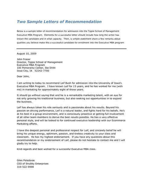 Sle Professional Recommendation Letter For Mba by Business School Letter Of Recommendation Exles
