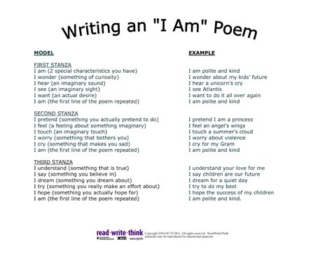 i am poem template hti3gt2t lesson plans pinterest